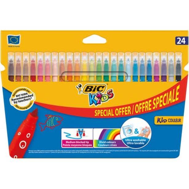 BIC Etui de 24 feutres de coloriage pointe moyenne KID COULEUR offre à 2,25€