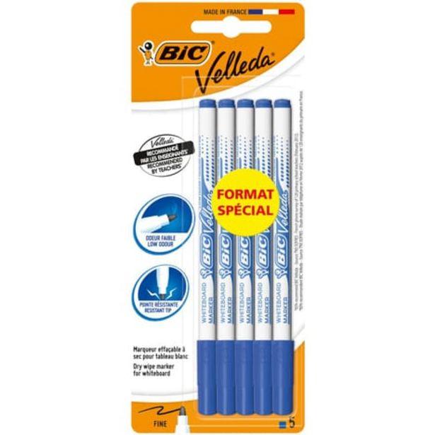 BIC Lot de 5 feutres pour tableau blanc effaçables à sec pointe fine VELLEDA bleu offre à 1,35€