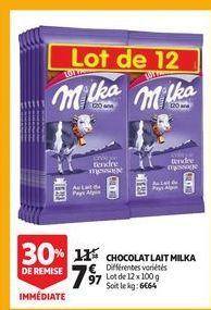 Chocolat au lait milka offre à 7,97€