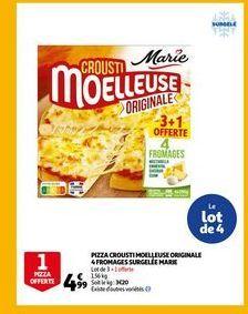 Pizza crousti moelleuse originale 4 fromages aurgelee marie offre à 4,99€