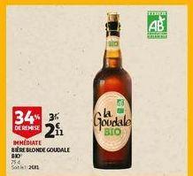 Bière blonde goudale bio offre à 2,11€