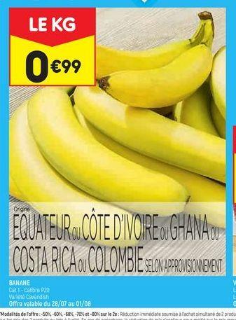 Bananes offre à 0,99€