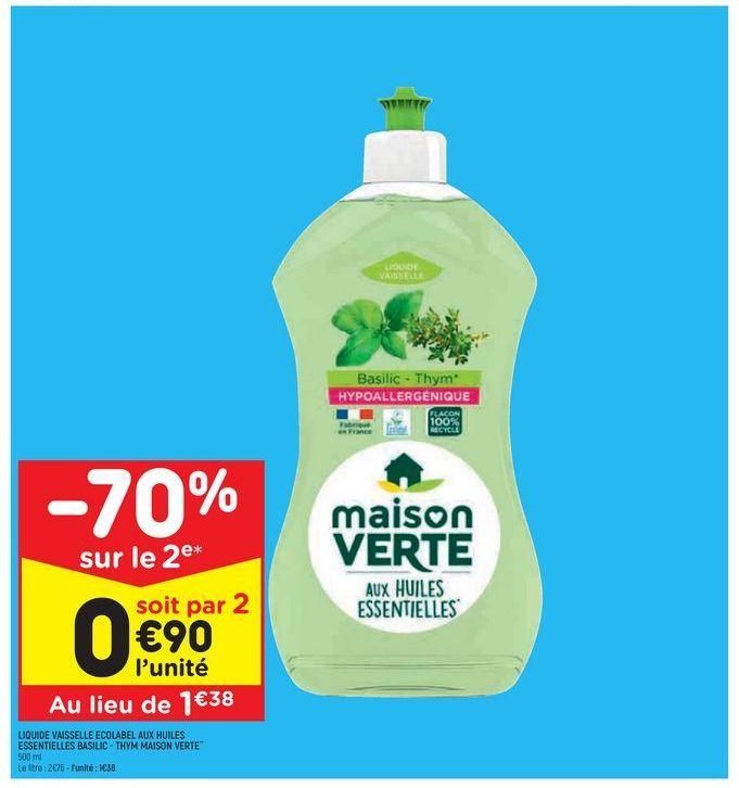 Liquide vaisselle offre à 1,38€
