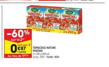 Tomacouli nature panzani offre à 1,24€