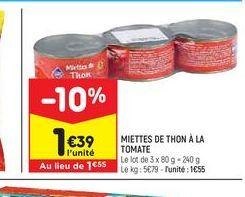 Miettes de thon à la tomate offre à 1,39€