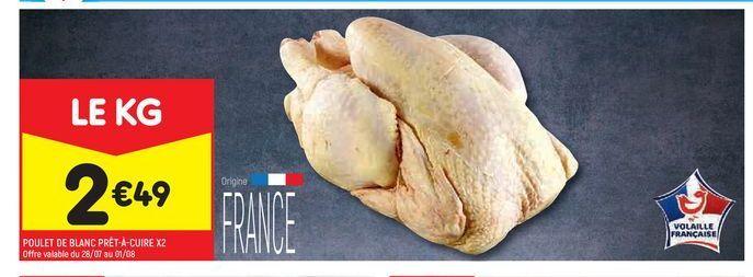 Poulet de blanc prêt-à-cuire x2 offre à 2,49€