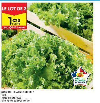 salade batavia en lot de 2  offre à 0,6€