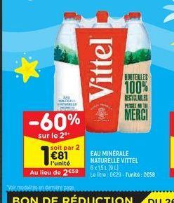Eau minérale naturelle Vittel offre à 2,58€