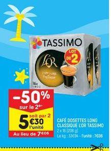 Café dosettes long classique l'or Tassimo offre à 7,06€