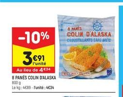8 panés colin d'alaska  offre à 3,91€