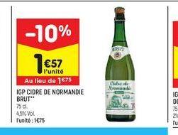 IGP cidre de normandie brut offre à 1,57€