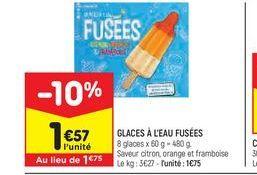 Glaces à l'eau fusées  offre à 1,57€