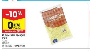Emmental français rapé offre à 0,76€