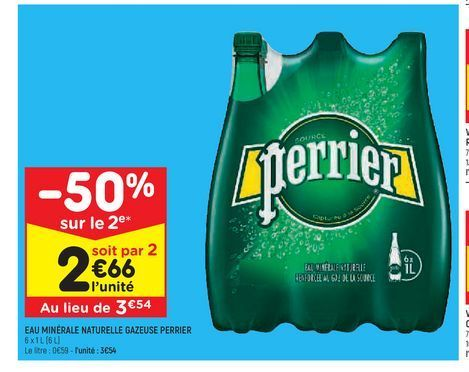 Eau minérale naturelle gazeuse Perrier offre à 3,54€