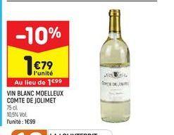 Vin blanc moelleux comte de jolimet  offre à 1,79€