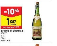 IGP cidre de normandie doux offre à 1,57€