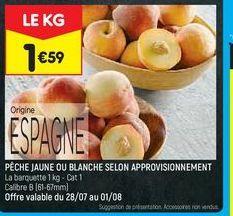 Pêches jaune ou blanche selon aprovisionnement offre à 1,59€