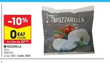 Mozzarella offre à 0,67€
