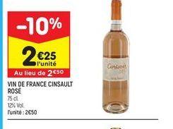 Vin de france cinsault rosé offre à 2,25€