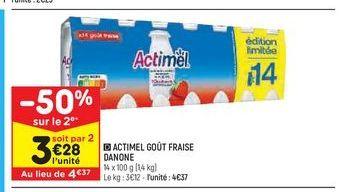 Actimel goût fraise Danone offre à 4,37€