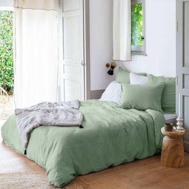 Housse de couette lin et coton lavé Songe eucalyptus offre à 72€