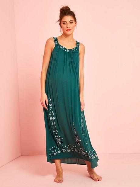 Robe longue de grossesse en crépon brodé - vert kaki offre à 29,99€