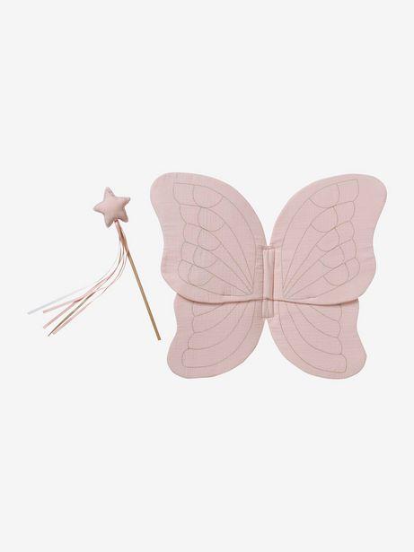 Ailes de papillon en gaze de coton + baguette magique - rose offre à 16,49€