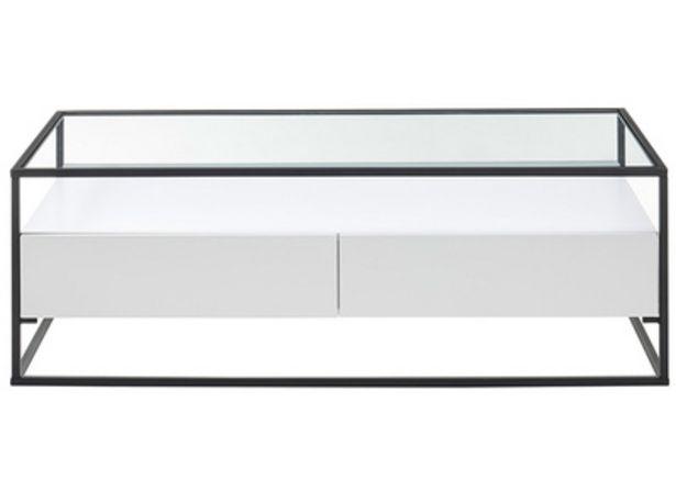 Tavolino di design con piano in vetro e cassetti bianchi - FINN offre à 338,19€