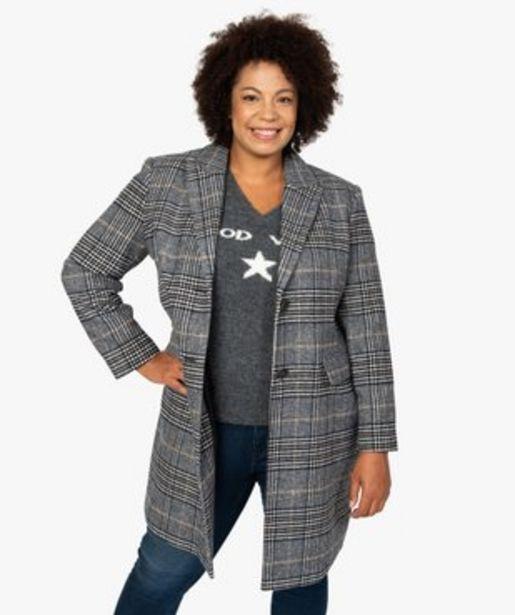 Manteau femme mi-long à carreaux vue1 - GEMO (G TAILLE) - GEMO offre à 29,99€
