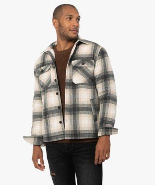 Veste homme à carreaux avec doublure sherpa vue1 - GEMO (HOMME) - GEMO offre à 34,99€