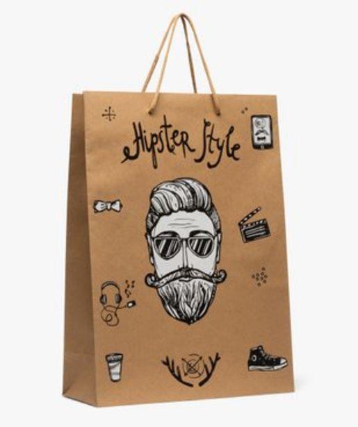Sac cadeau en papier kraft imprimé hipster vue1 - GEMO C4G HOMME - GEMO offre à 1,99€