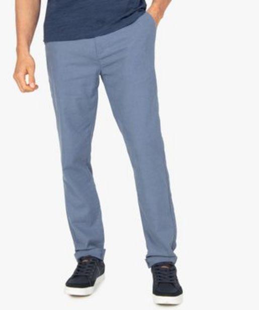 Pantalon homme coupe chino en lin et coton vue1 - GEMO (HOMME) - GEMO offre à 17,49€