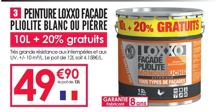Peinture Loxxo Façade Pliolite Blanc ou Pierre 10L+20% gratuits  offre à 49,9€