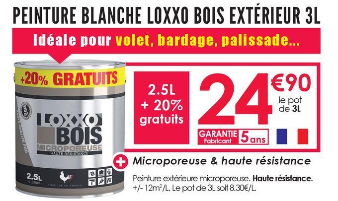 Peinture Blanche Loxxo Bois Extérieur 3L offre à 24,9€