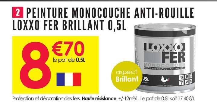 Peinture Monocouche anti-rouille Loxxo Fer Brillant 0.5L offre à 8,7€