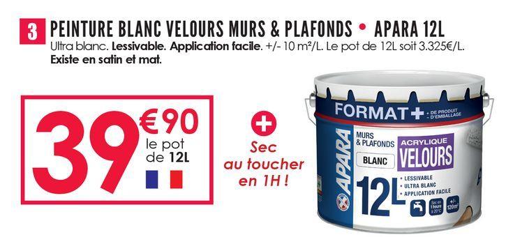 Peinture blanc velours murs & plafonds apara 12L offre à 39,9€