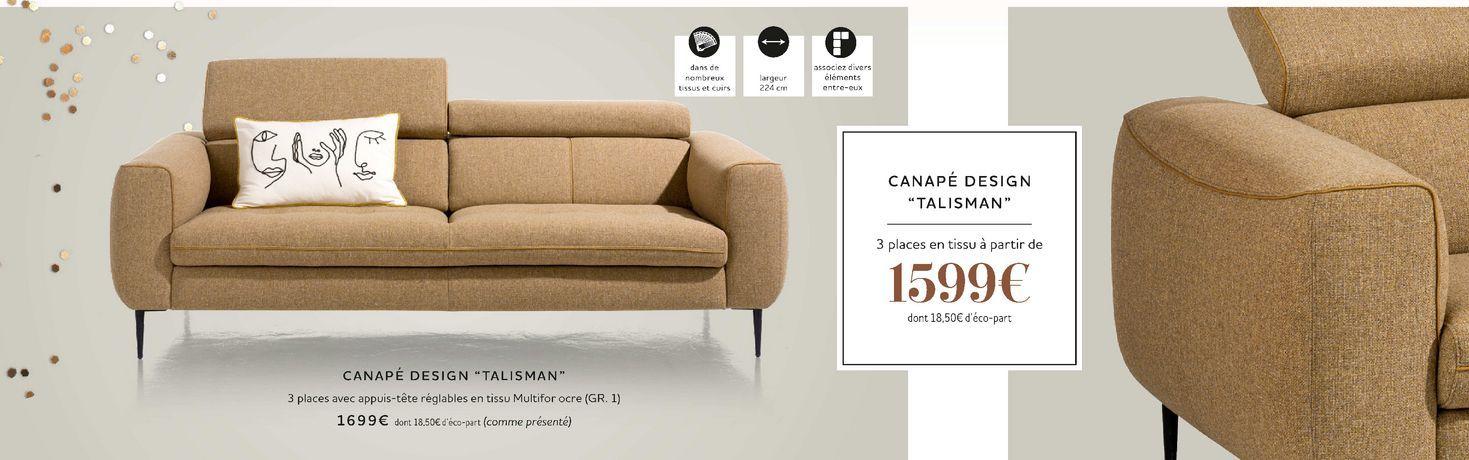 """Canapé design """"Talisman"""" offre à 1599€"""