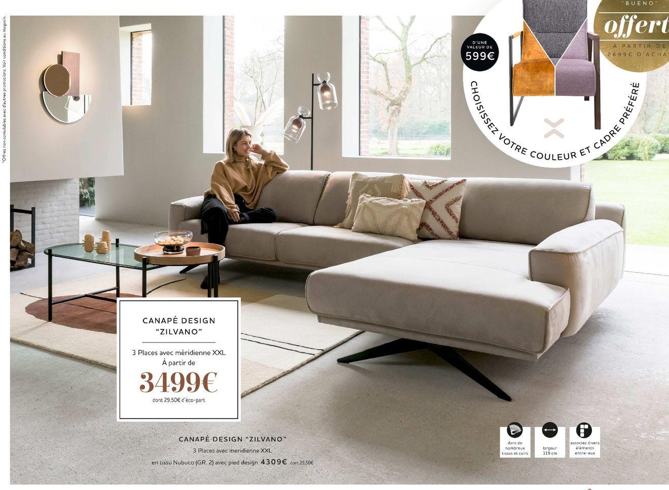 """Canapé design """"Zilvano"""" offre à 3499€"""