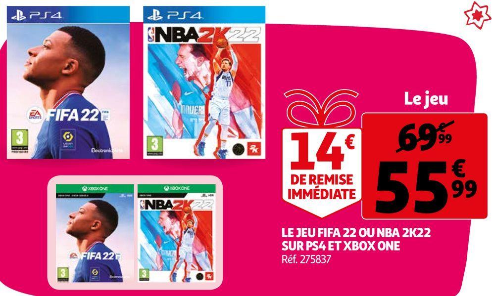 LE JEU FIFA 22 OU NBA 2K22 SUR PS4 ET XBOX ONE offre à 55,99€