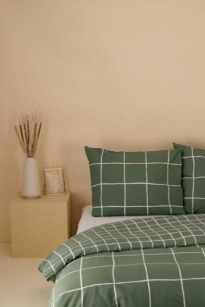 Housse de couette coton doux carreaux vert offre à 30€