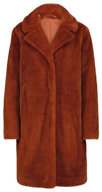 Manteau femme fausse fourrure rouge offre à 55€