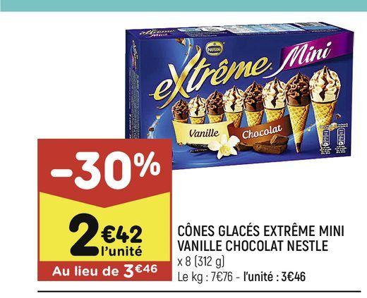 Cones glaces extreme mini vanille chocolat nestle offre à 2,42€