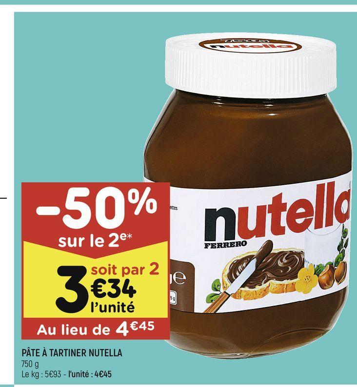 Pâté a tartiner Nutella offre à 4,45€