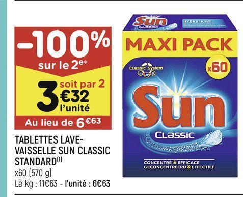 Tablettes lave-vaisselle Sun classic standard offre à 6,63€