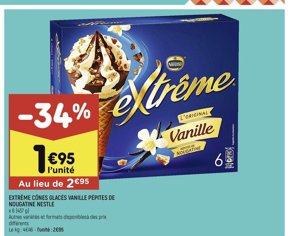 Extreme cones glaces vanille pepites de nougatine nestle offre à 1,95€