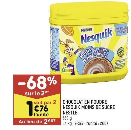 Chocolat en pudre nesquik moions de sucre nestle offre à 2,67€