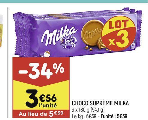 Choco supreme Milka offre à 3,56€