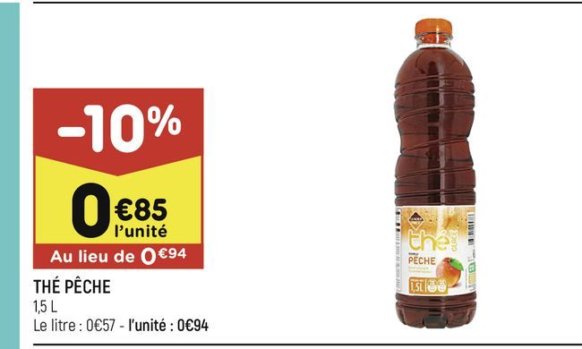Thé peche offre à 0,85€