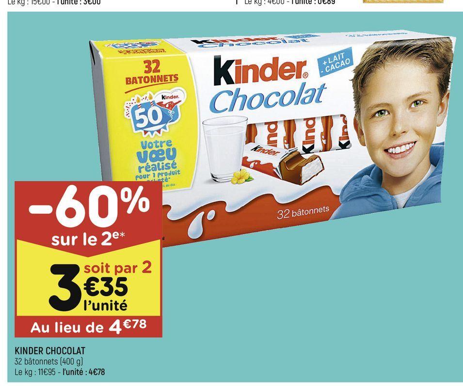 Kinder chocolat offre à 4,78€