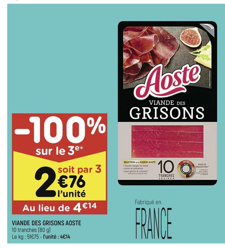 Viande des grisons Aoste offre à 4,14€